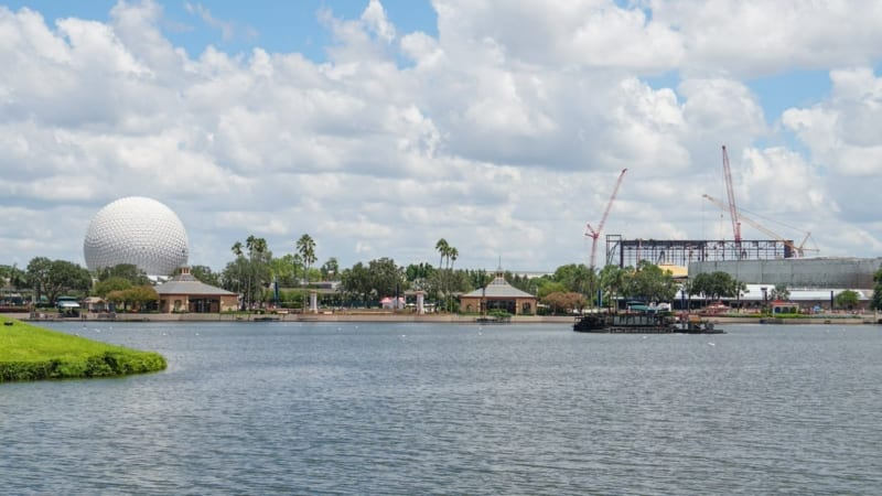 Guardians of the Galaxy Coaster Construction August 2018 with Spaceship Earth