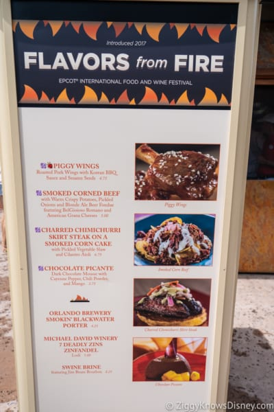 2018 Epcot Food and Wine Festival Menus Flavors from Fire