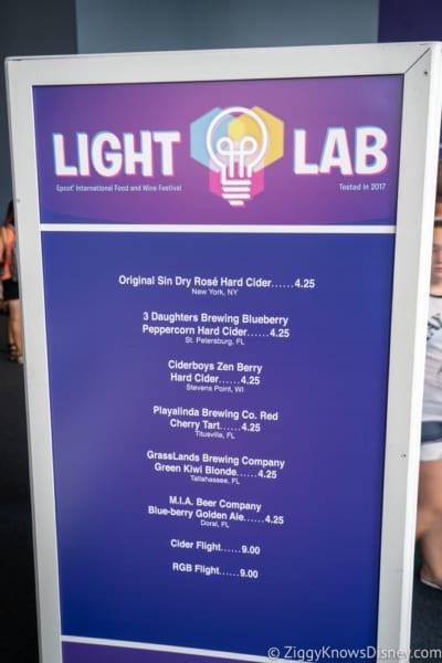 2018 Epcot Food and Wine Festival Menus Light Lab