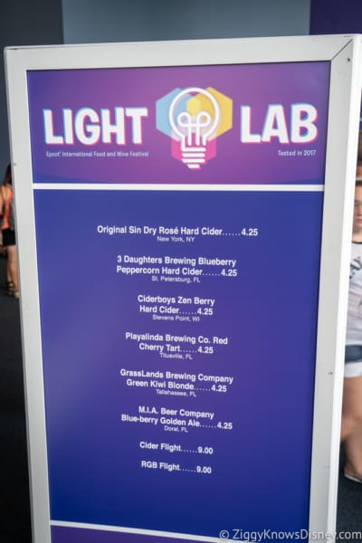 2018 Epcot Food and Wine Festival Menus Light Lab