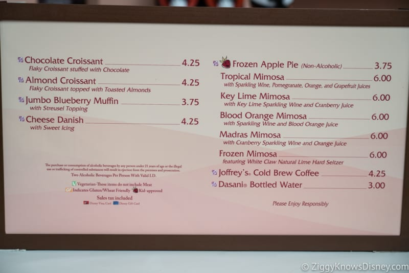 2018 Epcot Food and Wine Festival Menus Shimmering Sips Mimosa Bar