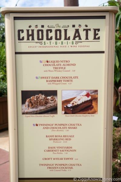 2018 Epcot Food and Wine Festival Menus Chocolate Studio