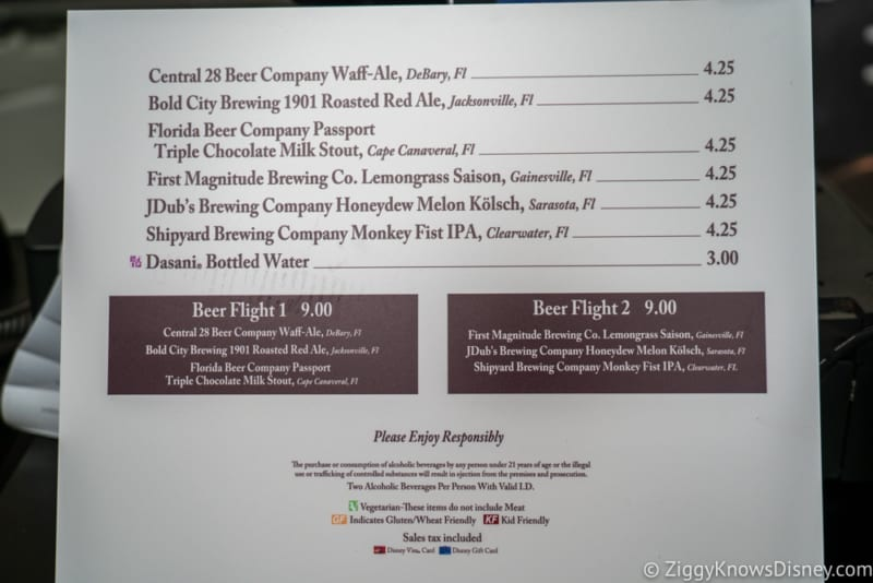 Craft Drafts Review 2018 Epcot Food and Wine Festival menu