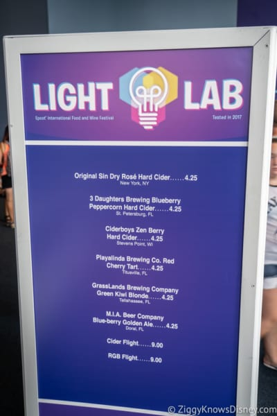 Light Lab Review 2018 Epcot Food and Wine Festival menu