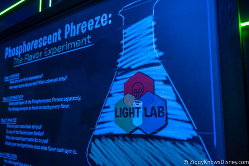 Light Lab Review 2018 Epcot Food and Wine Festival phosphorescent phreeze neon board