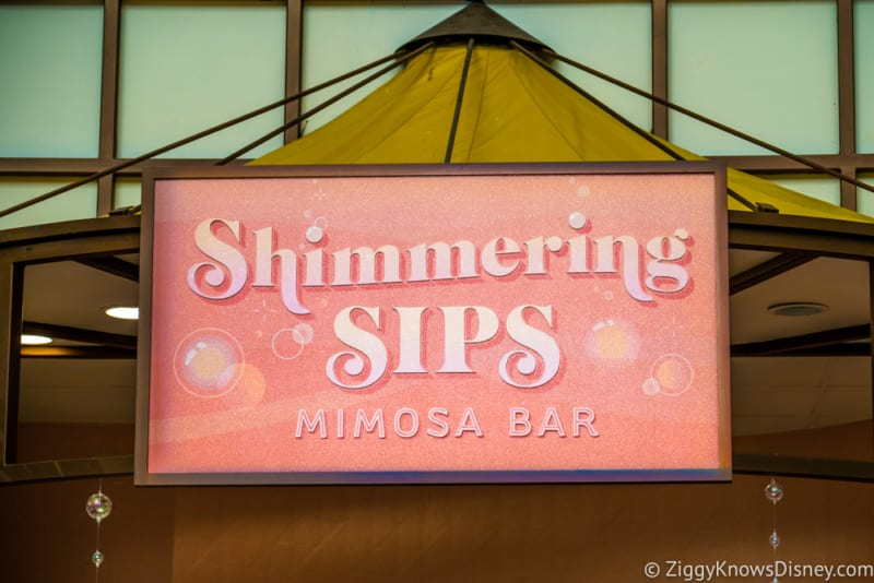 Shimmering Sips Mimosa Bar Review 2018 Epcot Food and Wine Festival Sign